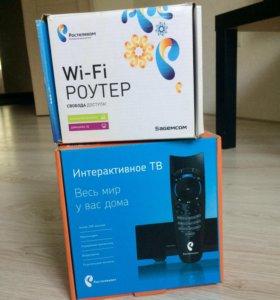 Приставка Tv и Wi-fi роутер Ростелеком