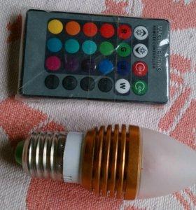Светодиодная лампа RGB Е27 с пультом