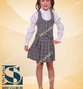 Школьный комплект тройка (юбка, брюки, жилетка)