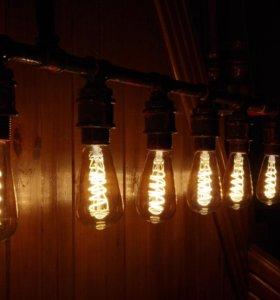 Светильник лофт с лампами эдиссона