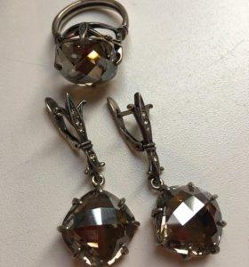 Серьги+кольцо р.19 черненое серебро с фианитом