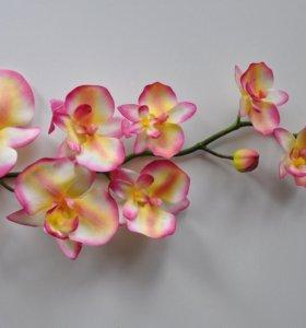 """Искусственная веточка """"Орхидея длинная"""" (Алая)"""