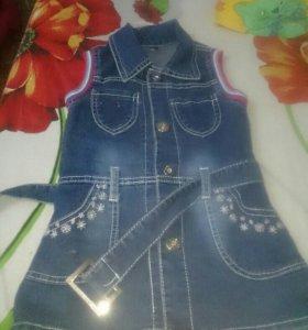 Продам джинсовый сарафан синий с отделкой