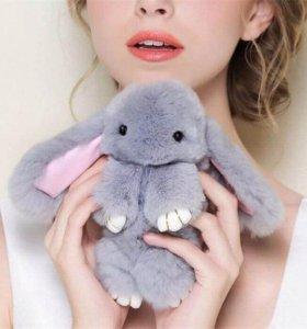 """Брелок """"Меховой Кролик"""" 19 см (натуральный мех)"""