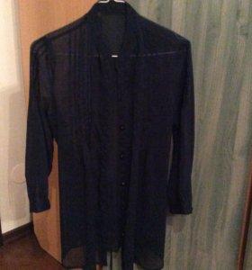 Синяя прозрачная блуза
