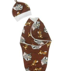 Набор: пеленка-кокон на липучках с шапочкой