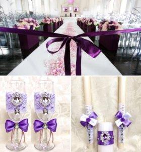 Свадебный декор- бокалы и свечи для молодоженов