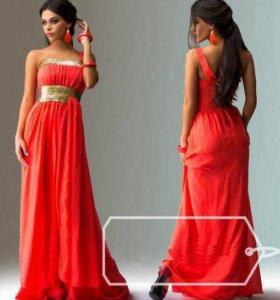 Платье в пол коралловое с золотом