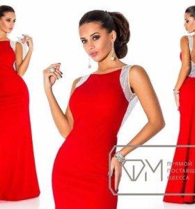 Платье в пол красное с пайетками