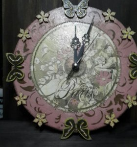 Часы, декупаж