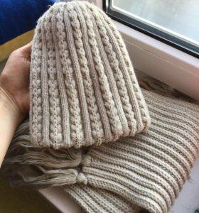 Комплекты Шапки с шарфами вязаные