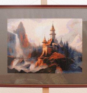 Картина вышитая крестиком Замок у водопада