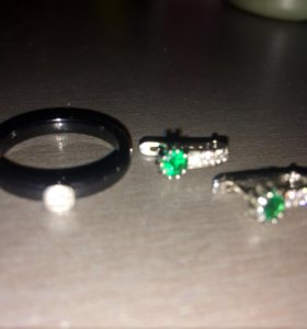 Серьги серебро и кольцо