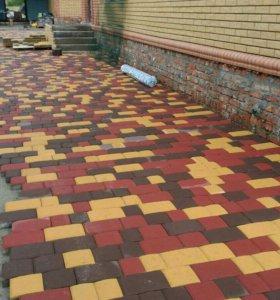 Тротуарная плитка, бордюры.