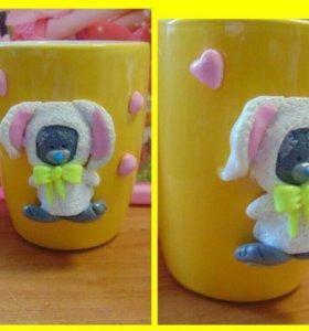 Чашка заяка из полимерной глины