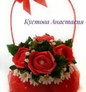 Мини корзинка с розами
