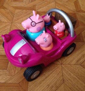 Машина свинки пеппы с семьей