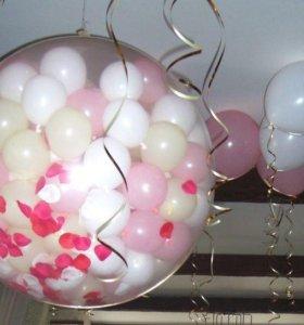 Шар сюрприз с лепестками роз, 🌹🌹🌹 Гелиевые шары