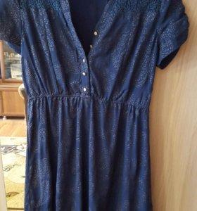 Платье синее приталенное