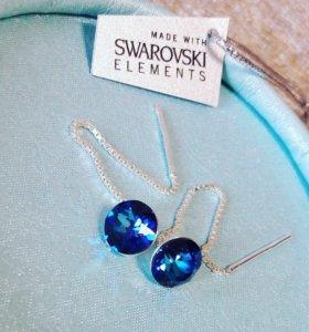Серьги-протяжки с кристаллами Swarovski