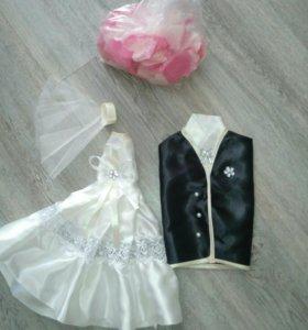 Одежка на бутылки, свадебная атрибутика