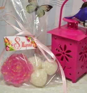 Подарочный набор мыло-пион и сахарный скраб
