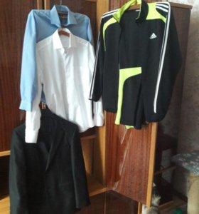 Спорт.костюм,пиджак,рубашки: голубая и белая.