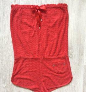 Махровый красный пляжный комбинезон