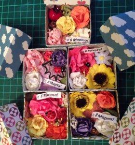 Цветы в коробочке. Скрапбукинг