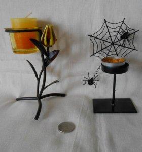 Подсвечники со свечами 2 шт