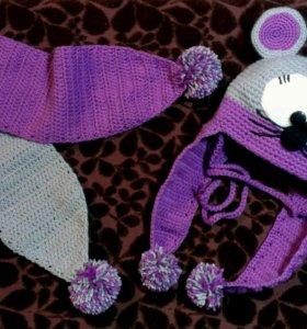 Шапка шарф для девочки