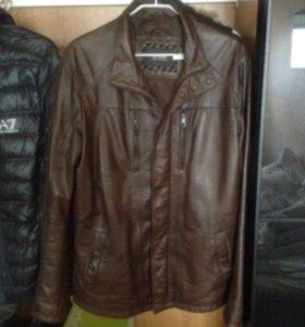 Куртка кожаная коричневая из мир кожи и меха