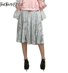Новая бархатная плиссированная серебряная юбка