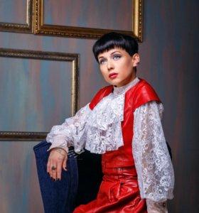 Эксклюзивный костюм из натур кожи: жилет и юбка