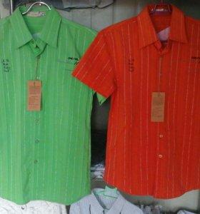Рубашки цветные с коротким рукавом