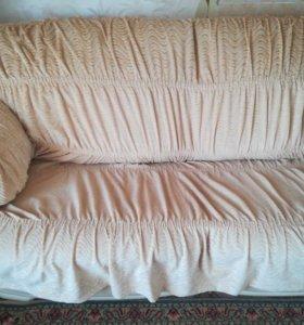 Чехлы на мягкую мебель, диван и 2 кресла,