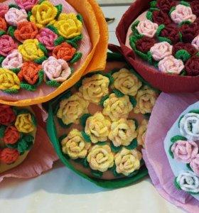 Букет из вязаных крючком цветов