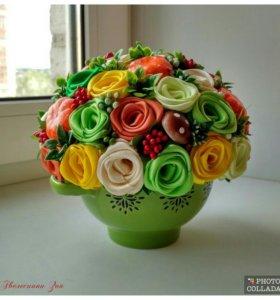 Осенний горшочек с розами!!)🌹🌹🌹