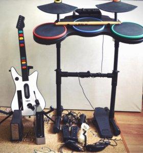 Nintendo Wii (игры, гитара, барабаны, микрофон)