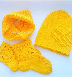 Комплект:шапочка, снуд,носочки