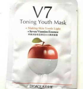 Тканевая маска Bioaqua V7 Toning Youth Mask(яблоко