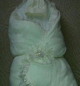 Зимний конверт на выписку,одеяло