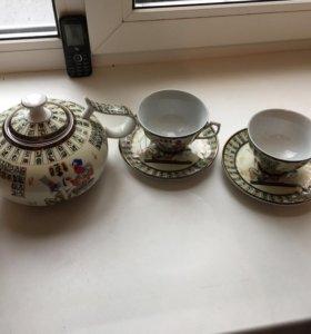 Чайник блюдца чашки набор чайный