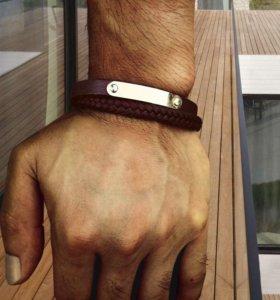 Модный мужской браслет из натуральной кожи