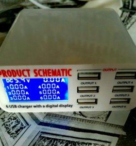 Зарядное устройство (БП) с 6 USB на 6 Aмпер