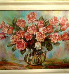 """Картина пастелью""""Розы"""""""