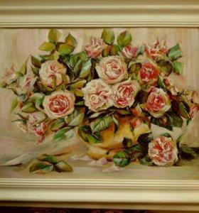 """Картина масляной пастелью"""" Букет роз"""""""