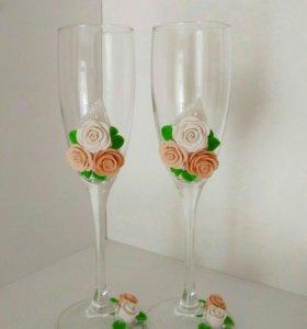 В наличии Свадебные бокалы из полимерной глины беж