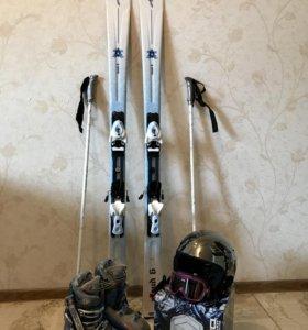 Комплект женские горные лыжи + экипировка