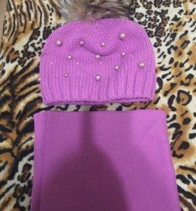 Шапка шарф детская 5-8лет